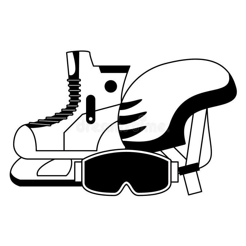 Zima sporta kra?cowy wyposa?enie w czarny i bia?y ilustracja wektor