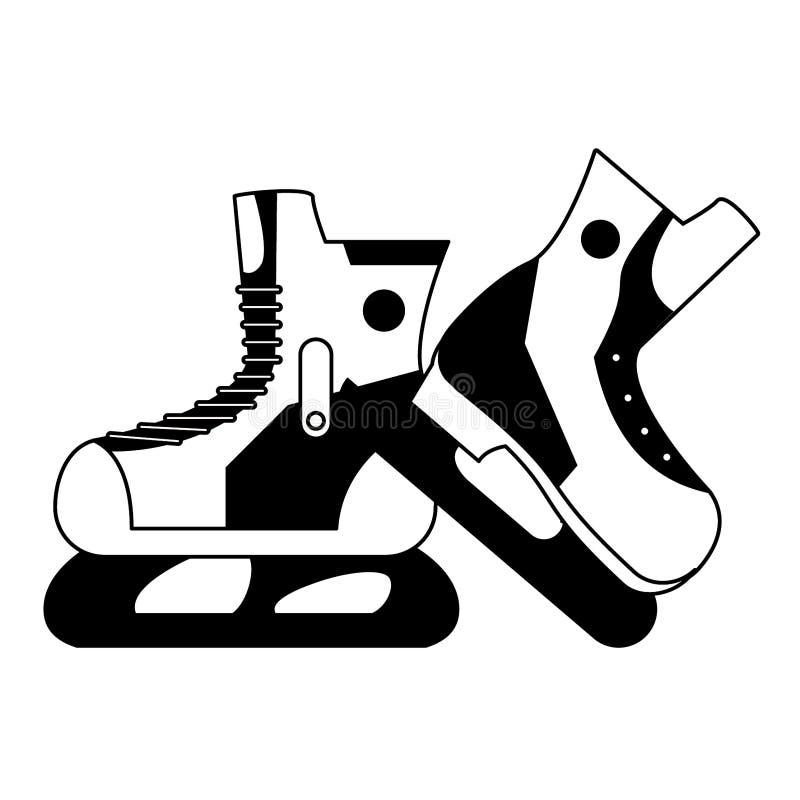 Zima sporta kra?cowy wyposa?enie w czarny i bia?y ilustracji