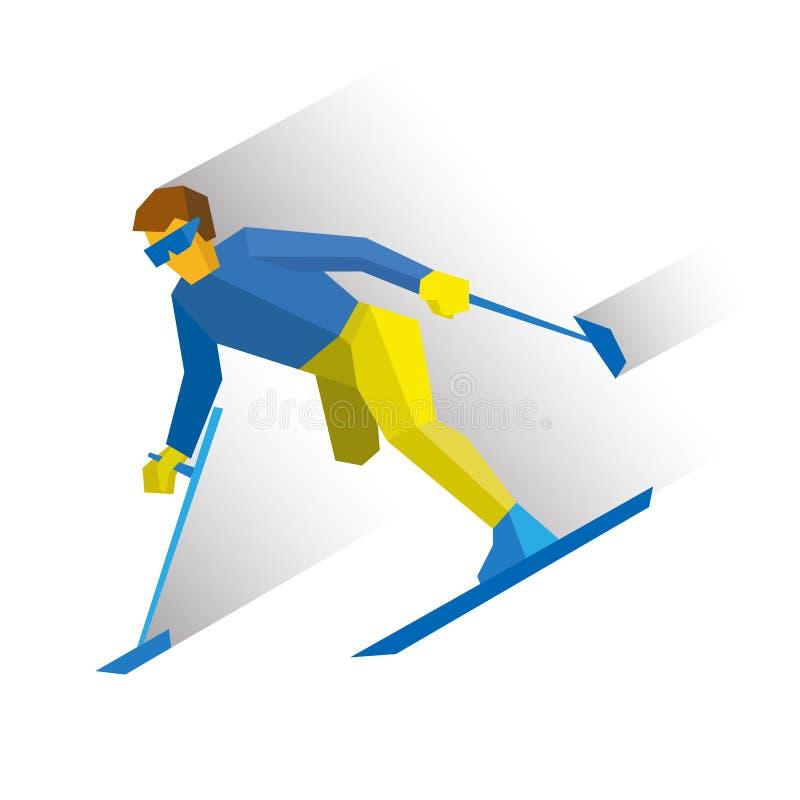 Zima sporty - alpejski narciarstwo Niepełnosprawny narciarki biegać zjazdowy ilustracji