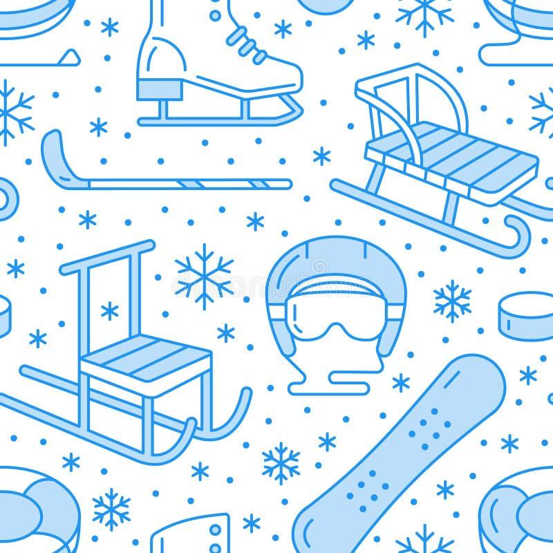Zima sporty błękitny bezszwowy wzór, wyposażenie wynajem przy ośrodkiem narciarskim Wektorowe mieszkanie linii ikony - łyżwy, hok ilustracji
