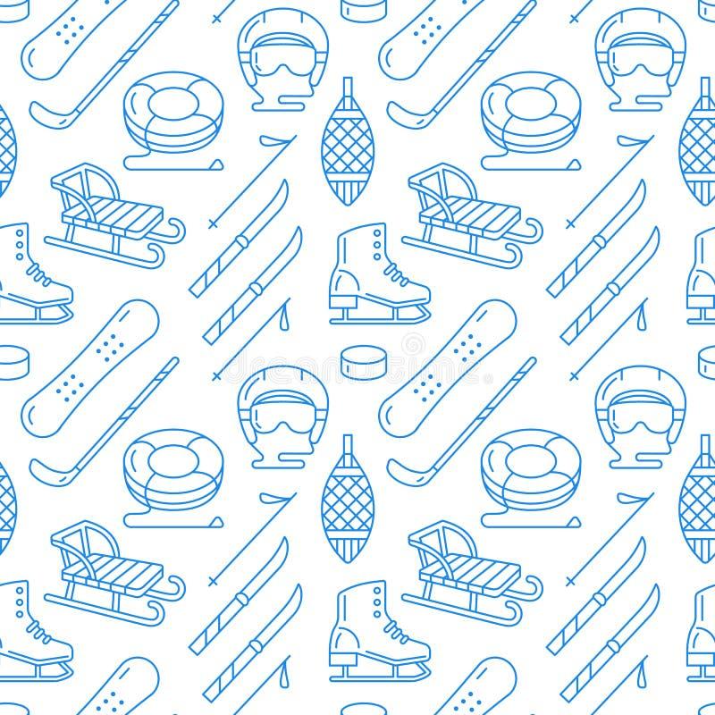 Zima sporty błękitny bezszwowy wzór, wyposażenie wynajem przy ośrodkiem narciarskim Wektorowe mieszkanie linii ikony - łyżwy, hok royalty ilustracja