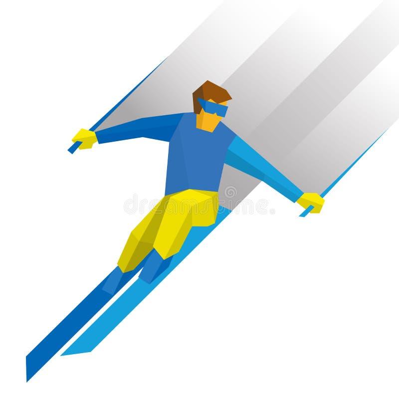Zima sporty - narciarstwo Kreskówki narciarki biegać zjazdowy royalty ilustracja