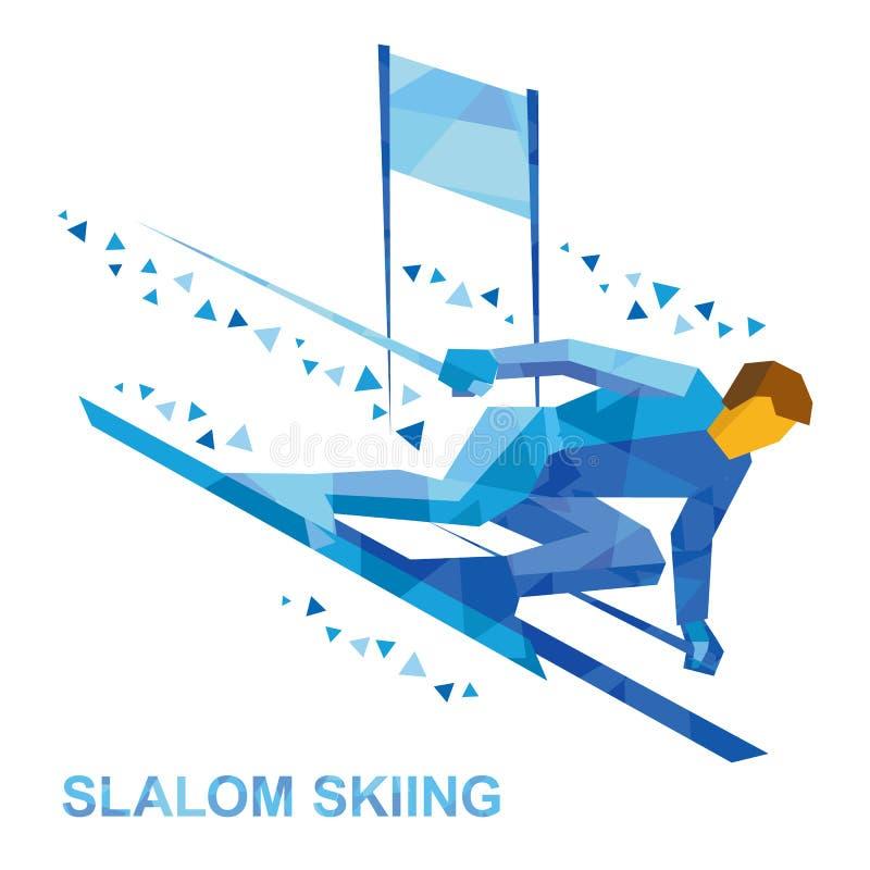 Zima sporty - slalomowy narciarstwo Kreskówki narciarki biegać zjazdowy royalty ilustracja
