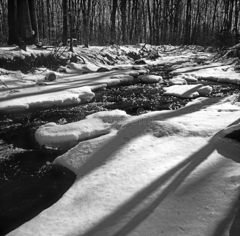 Zima strumień w Północnym Maryland fotografia royalty free
