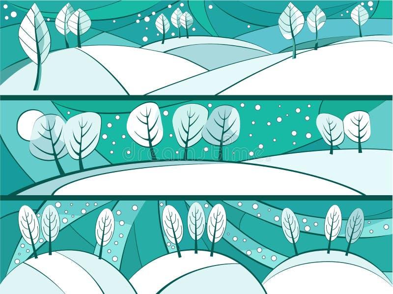 Zima sztandary z kreskówek drzewami ilustracji