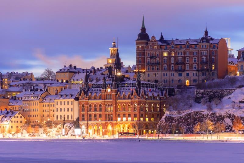 Zima Sztokholm na wschód słońca zdjęcia stock
