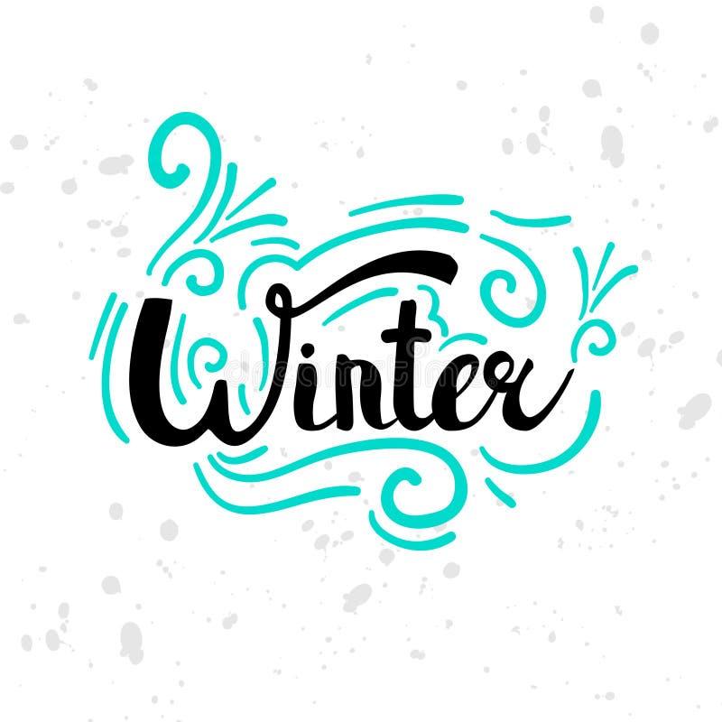 Zima tekst Bożenarodzeniowy kartka z pozdrowieniami z szczotkarską kaligrafią i ręki rysować ilustracjami, wakacyjny druk Sezonu  ilustracja wektor