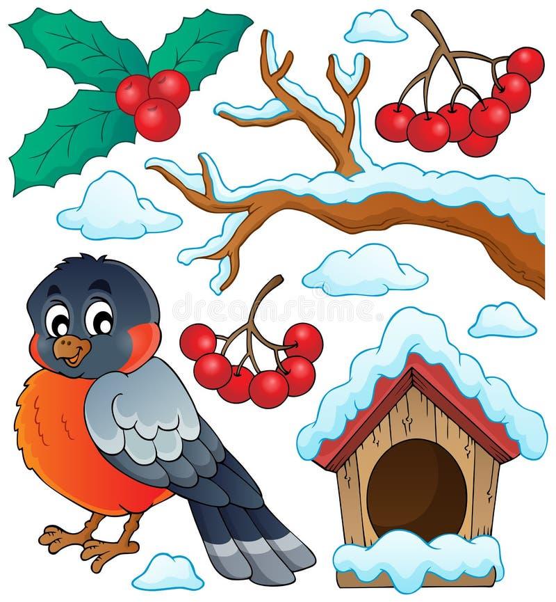 Zima tematu ptasia kolekcja 1 ilustracja wektor