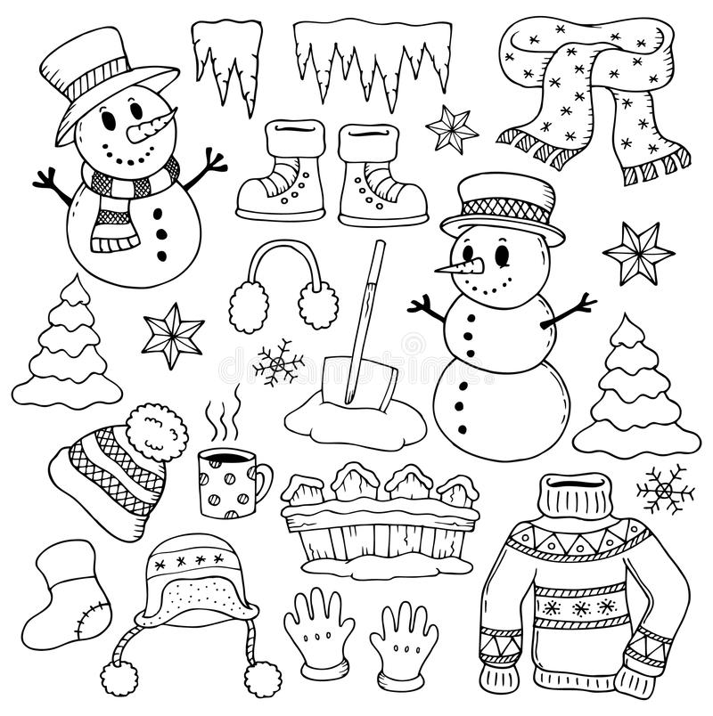 Zima tematu rysunki 1 ilustracja wektor