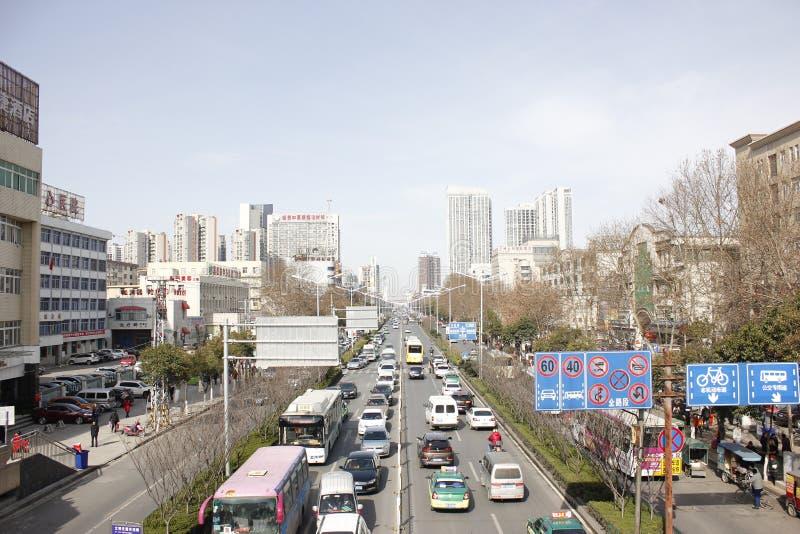 Zima uliczny widok w XiangYang mieście (Hubei, porcelana) fotografia royalty free