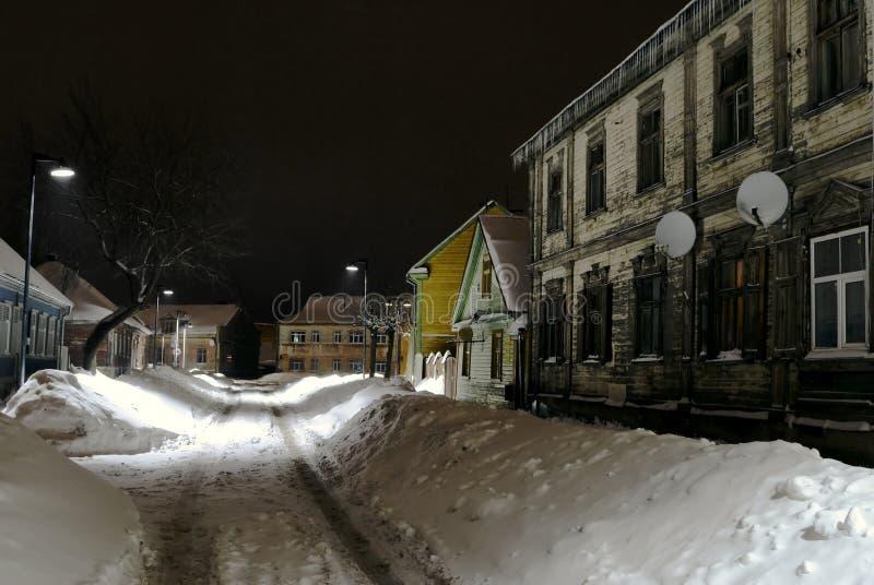 Zima, w Jelgava Stara ulica /Latvia/ zdjęcie royalty free
