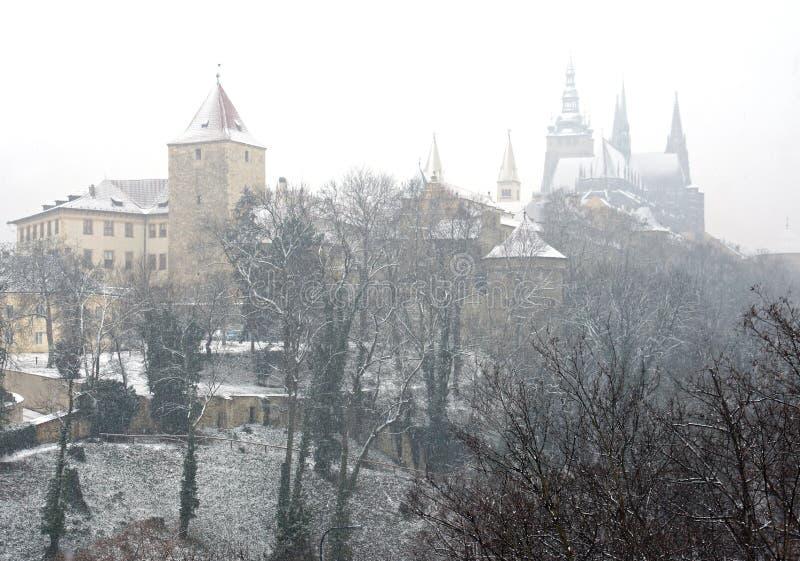 Zima w Praga komesie przy marszem nagle zdjęcie royalty free
