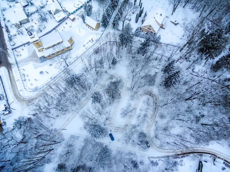 Zima w Vilnius Lithuania: Tuputiskes Seprentine droga obrazy royalty free