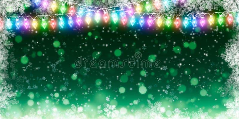 Zima wakacje backgroundgreen z płatek śniegu zdjęcia stock
