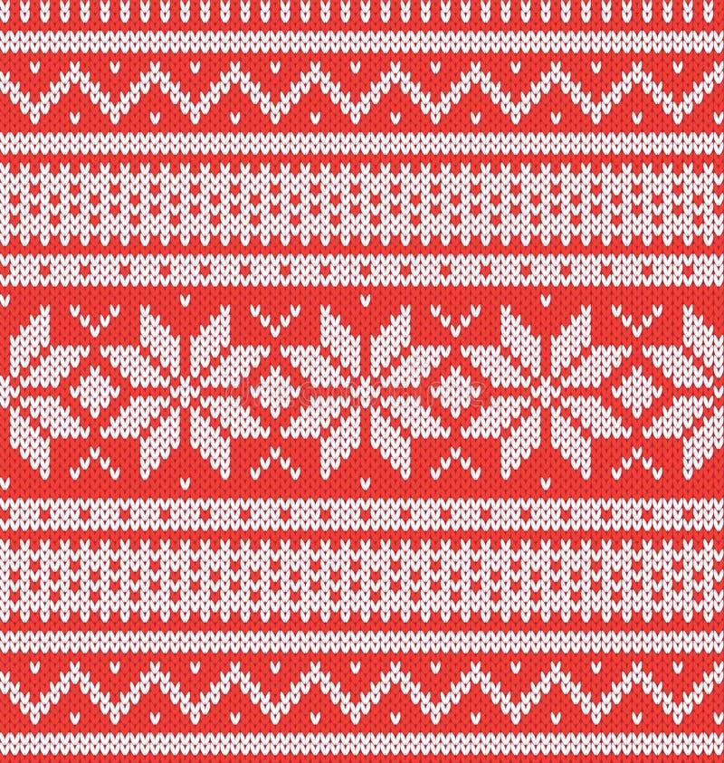 Zima wakacje Bezszwowy Trykotowy wzór Czerwony i biały wektorowy illustartion ilustracji