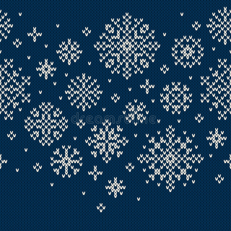 Zima wakacje Bezszwowy Trykotowy wzór z płatkami śniegu ilustracja wektor