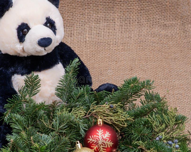 Zima wakacje dekoracja: fraser jodły stołu wianku centerpiece z rożkami, jałowem, choinek piłkami i panda niedźwiedziem, obrazy royalty free