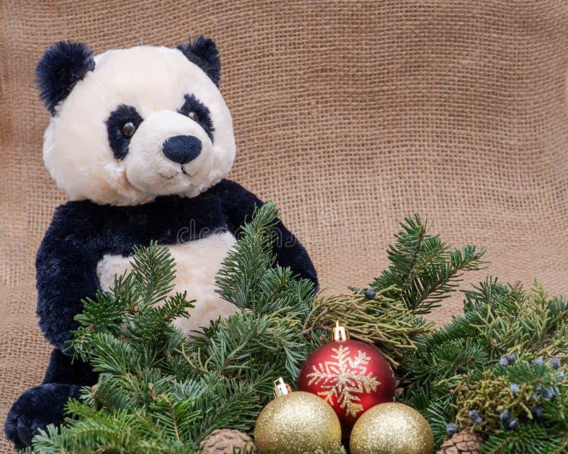 Zima wakacje dekoracja: fraser jodły stołu wianku centerpiece z rożkami, jałowem, choinek piłkami i panda niedźwiedziem, obraz royalty free