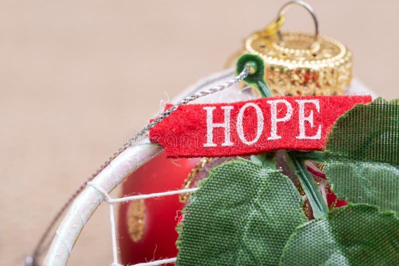 Zima wakacje dekoracja: wymarzony łapacz z zieleń liśćmi, szyldową nadzieją i choinki piłką na burlap, zdjęcie stock