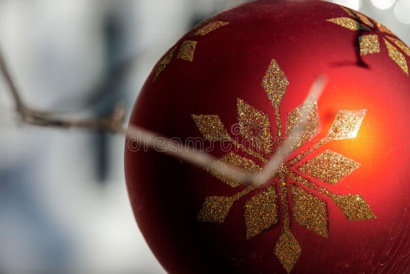 Zima wakacje dekoracji pojęcie: Nagi drzewo Bez liści dekorował z Bożenarodzeniowymi rocznik piłkami zdjęcie royalty free