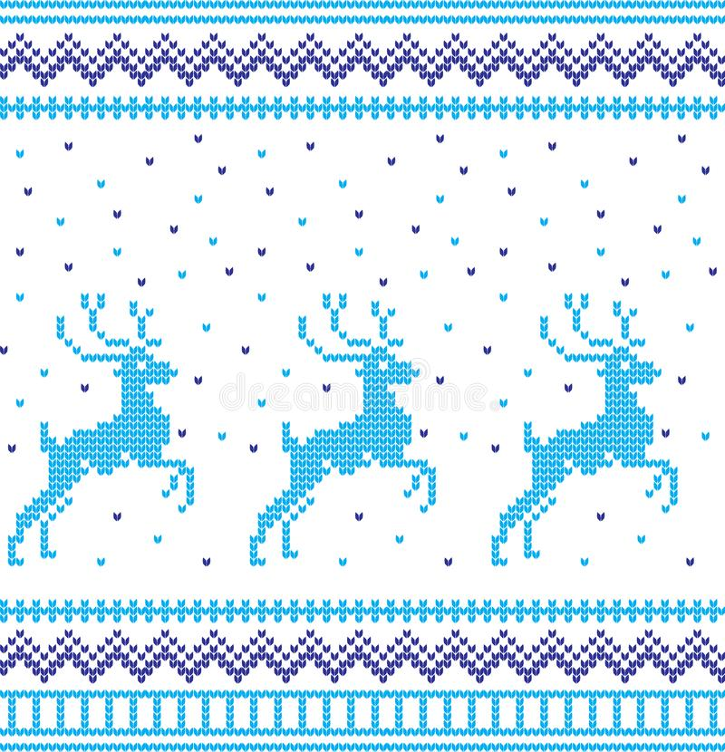 Zima wakacje dziania wzór z choinki Bożenarodzeniowy Dziewiarski puloweru projekt Wełny trykotowa tekstura ilustracja wektor