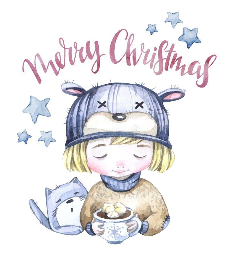 Zima wakacje ilustracyjni Akwareli chłopiec z filiżanką gorący napój i kiciunia nowego roku karty wesołych Świąt ilustracji
