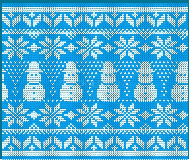 Zima wakacje puloweru Trykotowy projekt z bałwanem ilustracja wektor