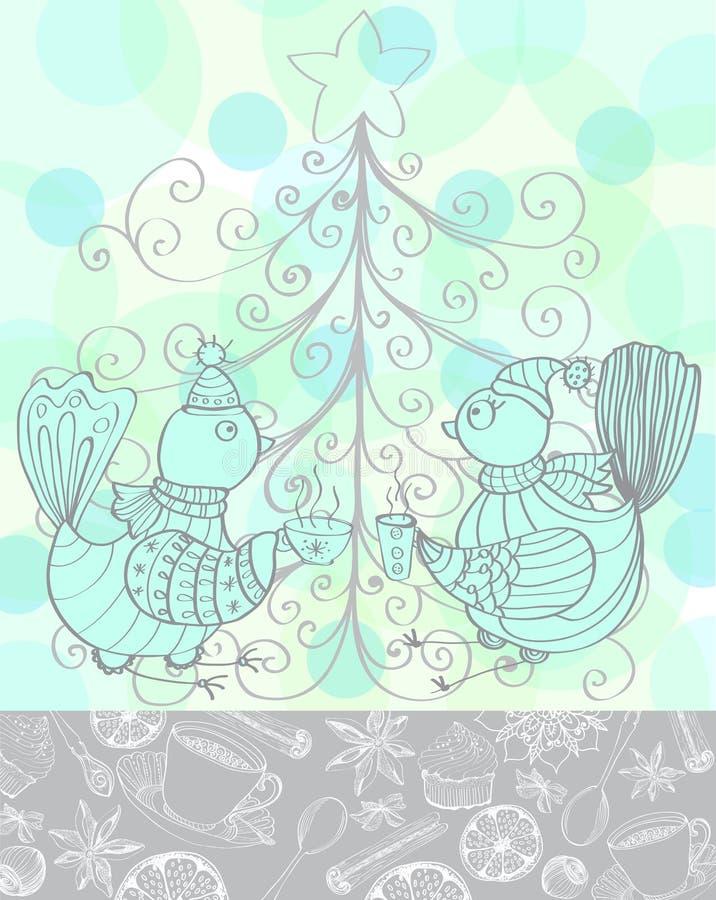 Zima wakacje tło z ślicznymi ptakami ilustracji