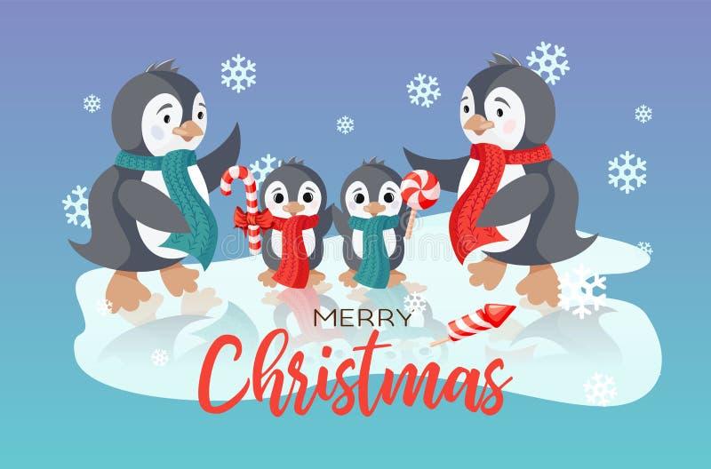 Zima wakacje wektorowa kartka bożonarodzeniowa z uśmiechać się ślicznych pingwiny rodzinnych ilustracji