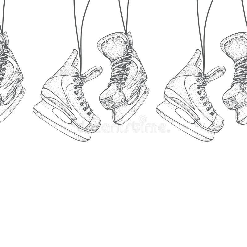 Zima wakacji bezszwowy wzór z lodowych łyżew kreskówki nakreśleniem Lodowego hokeja łyżwy Ręka rysująca wektorowa ilustracja odiz ilustracja wektor