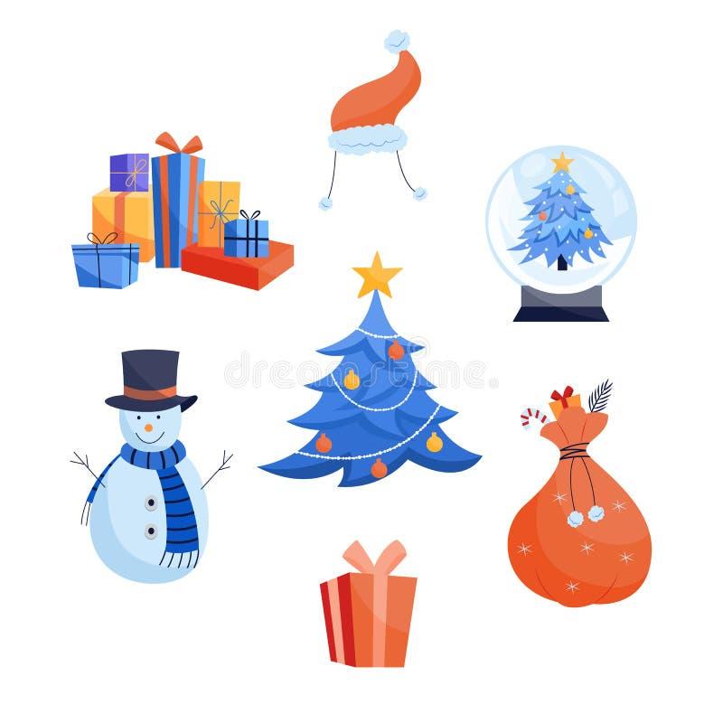Zima wakacji ikony ustawiają - różnorodni bożych narodzeń i nowego roku symbole odizolowywający na białym tle royalty ilustracja