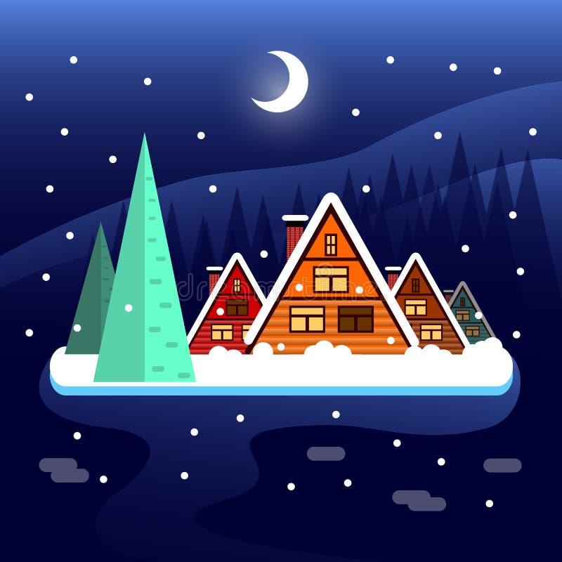 Zima wakacji mieszkania krajobrazu scena na ośrodku narciarskim zdjęcie stock