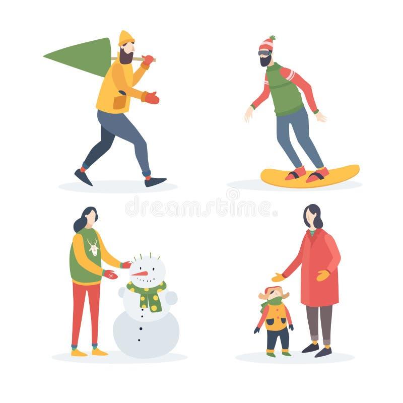 Zima wakacji plenerowe aktywność Młody człowiek niesie choinki, kobieta z dzieckiem, dziewczyna sculpts bałwanu, snowboarder royalty ilustracja