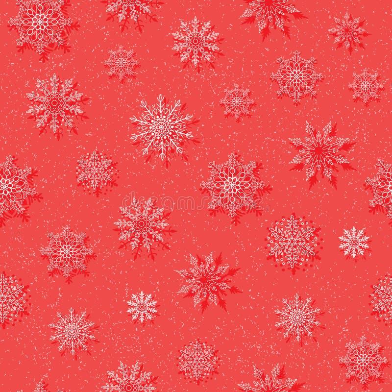 Zima wektoru bezszwowy wzór z płatek śniegu na czerwonym tle ilustracja wektor