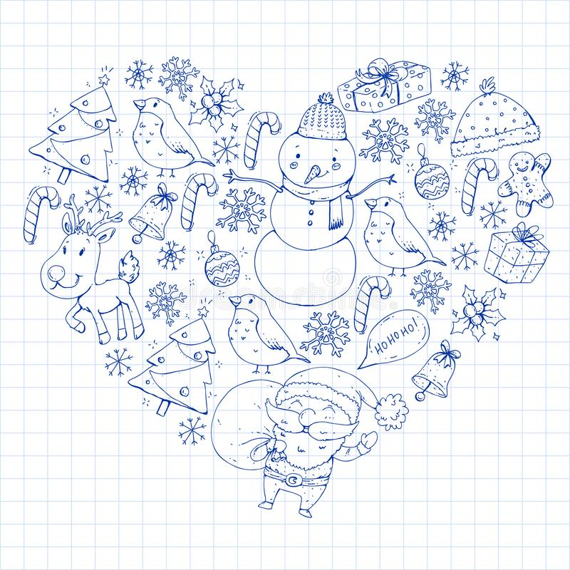Zima wektoru Bożenarodzeniowy wzór Ikony Santa, bałwan, rogacz, dzwon, choinka boże narodzenie nowy rok szczęśliwy wesoło royalty ilustracja
