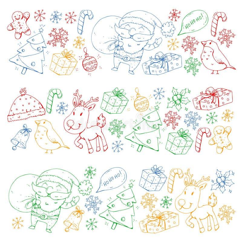 Zima wektoru Bożenarodzeniowy wzór Ikony Santa, bałwan, rogacz, dzwon, choinka boże narodzenie nowy rok szczęśliwy wesoło ilustracji