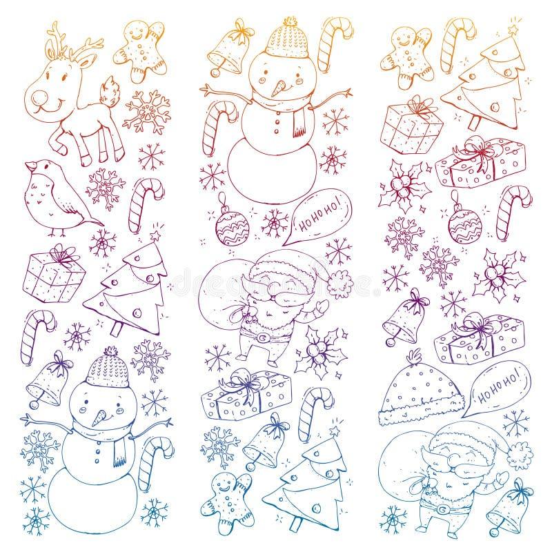 Zima wektoru Bożenarodzeniowy wzór Ikony Santa, bałwan, rogacz, dzwon, choinka boże narodzenie nowy rok szczęśliwy wesoło ilustracja wektor