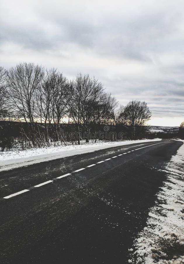 Zima wieczór i piękno Rosyjska natura obraz stock