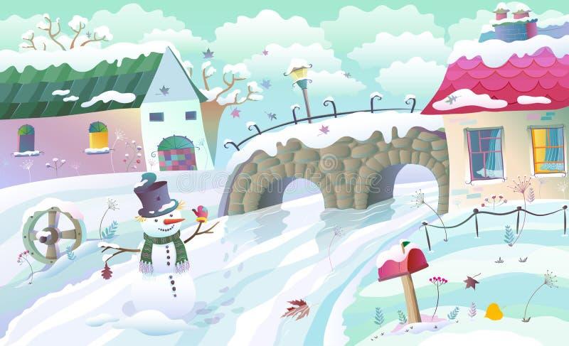 Zima wiejski krajobraz royalty ilustracja