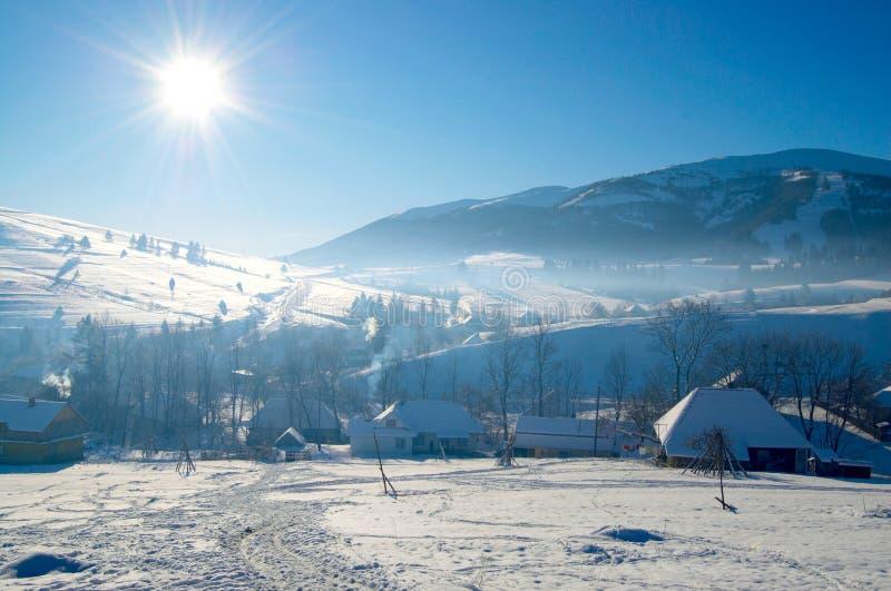 Zima wioska obrazy royalty free
