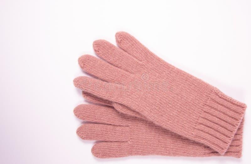 Zima, woolen rękawiczki na białym tle zdjęcia royalty free
