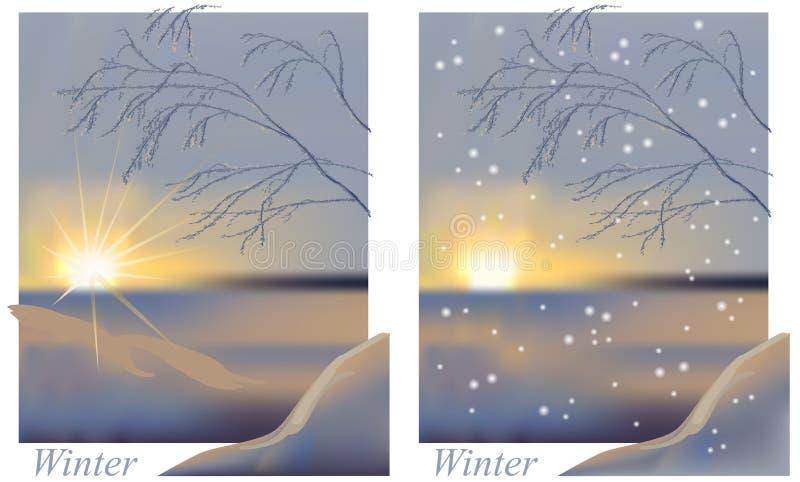 Zima wschodu słońca snowing ilustracja wektor