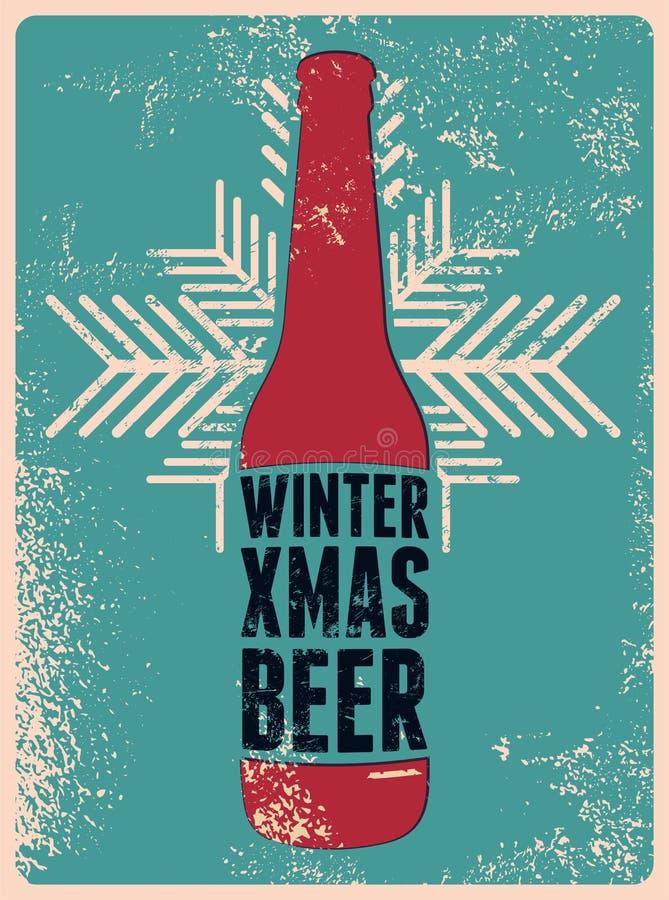 Zima, Xmas, piwo Typograficznego retro grunge Bożenarodzeniowy piwny plakat również zwrócić corel ilustracji wektora ilustracja wektor
