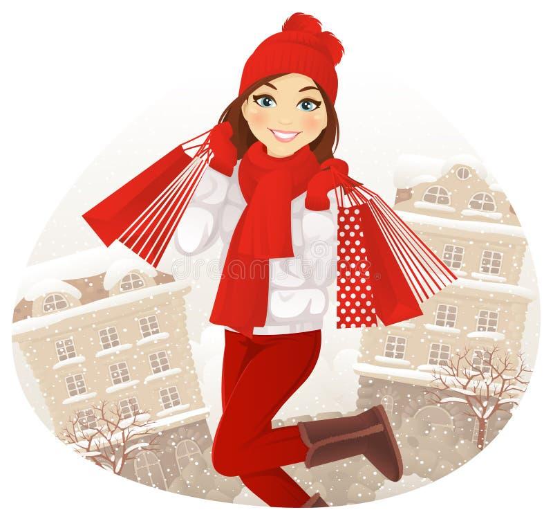 Zima zakupy royalty ilustracja