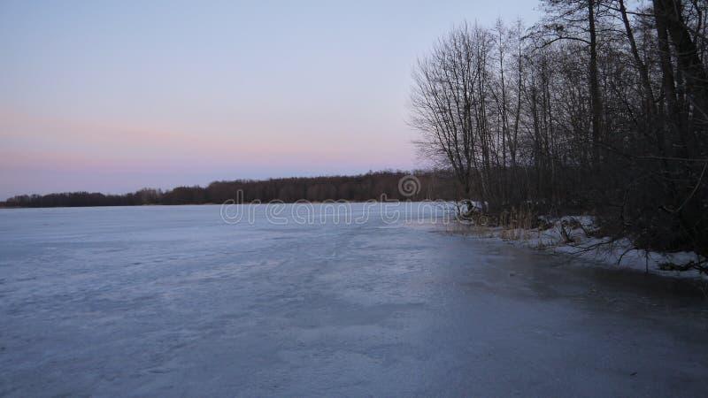 Zima zmierzch na lasowym jeziorze zdjęcia royalty free