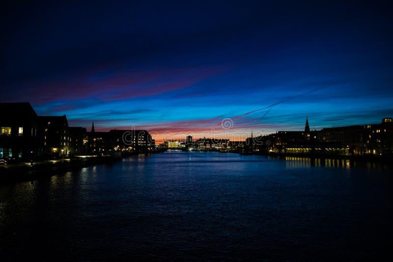 Zima zmierzch w Kopenhaga, Dani obrazy royalty free