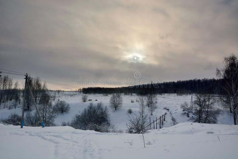 Zima zmierzchu krajobraz zdjęcie royalty free