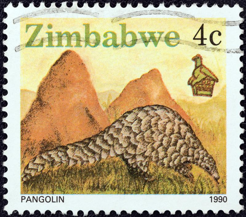 ZIMBABWE - CIRCA 1990: A stamp printed in Zimbabwe shows a pangolin, circa 1990. ZIMBABWE - CIRCA 1990: A stamp printed in Zimbabwe from the `Wildlife ` issue stock photos