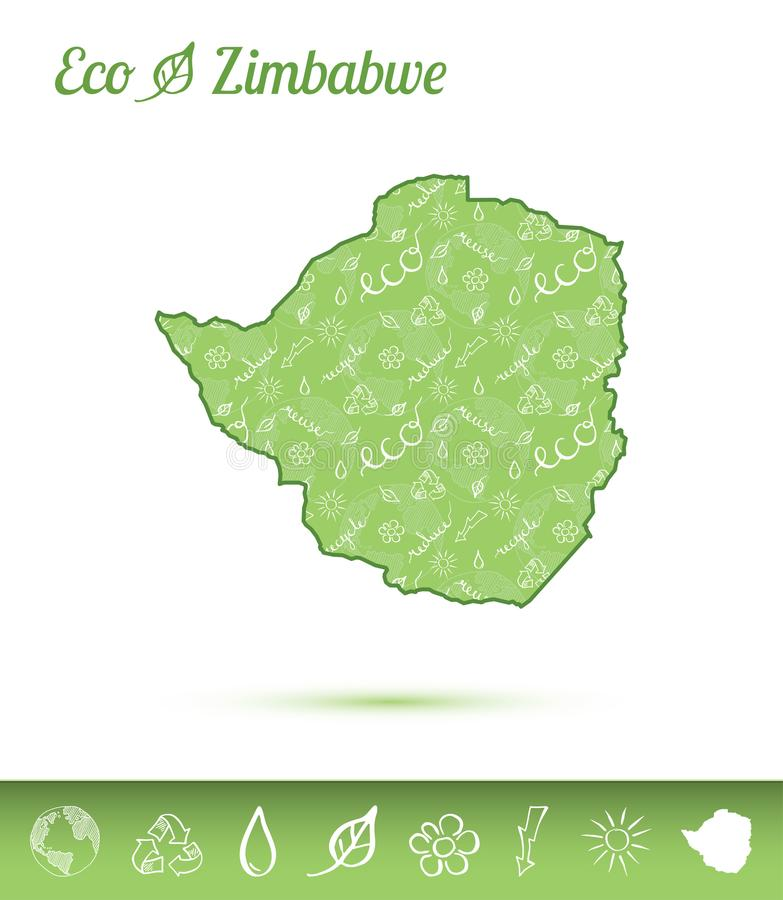 Zimbabwe eco map filled with green pattern. vector illustration