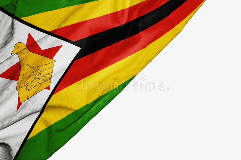 Zimbabwe flag of fabric with copyspace for your text on white background. Africa african banner best capital colorful competition country ensign free freedom stock illustration